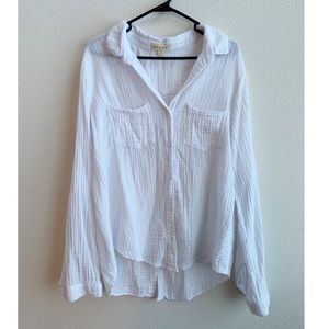 CLOTH AND STONE 100% cotton white button up Large